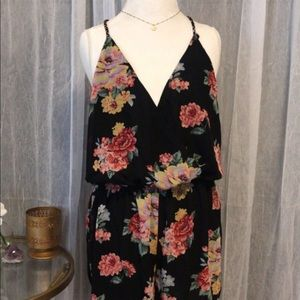 Black floral romper with strappy back